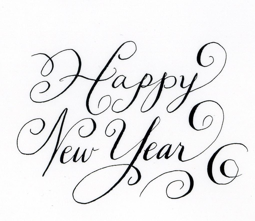 Happy new year calligraphy handwritten life